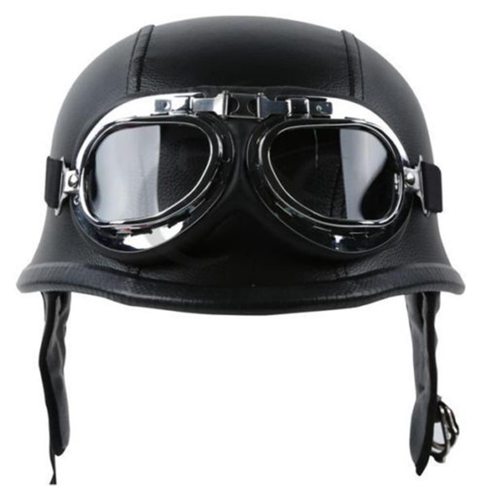 Motorcycle Helmet PU Leather Style Black German Motorbike Open Face Half Helmet Chopper Biker Pilot Scooter Cruiser Moto Helmet