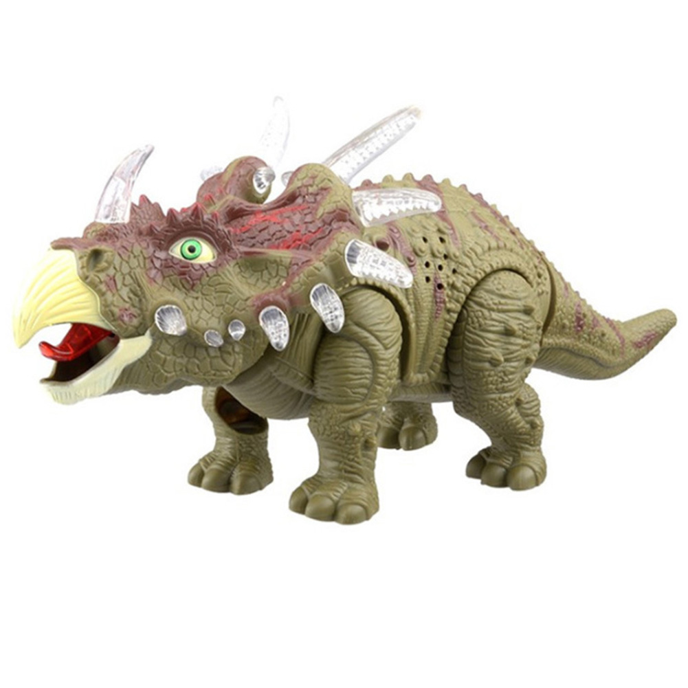 Triceratops Model Figure Sounds Walking Kids Non-toxic Interactive Games Electric Dragon Dinosaur Toy Plastic Real Movement Gift