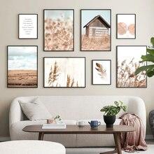 Arte da parede pintura em tela bege reed planta de algodão folhas nordic posters e cópias paisagem fotos parede para sala estar decoração