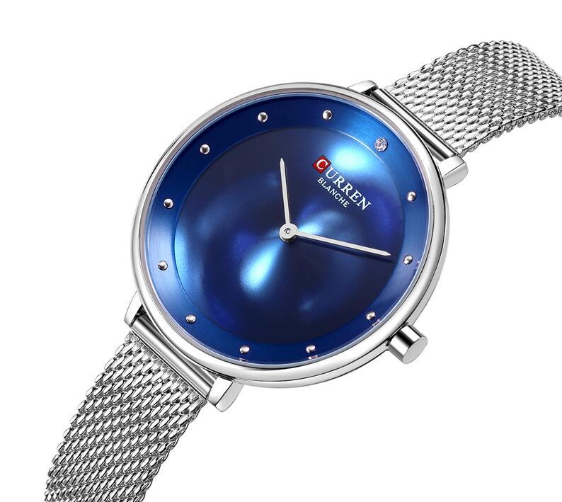 Женские часы CURREN, модные брендовые роскошные женские часы, синие стальные сетчатые кварцевые наручные часы, повседневные женские часы, Relogio