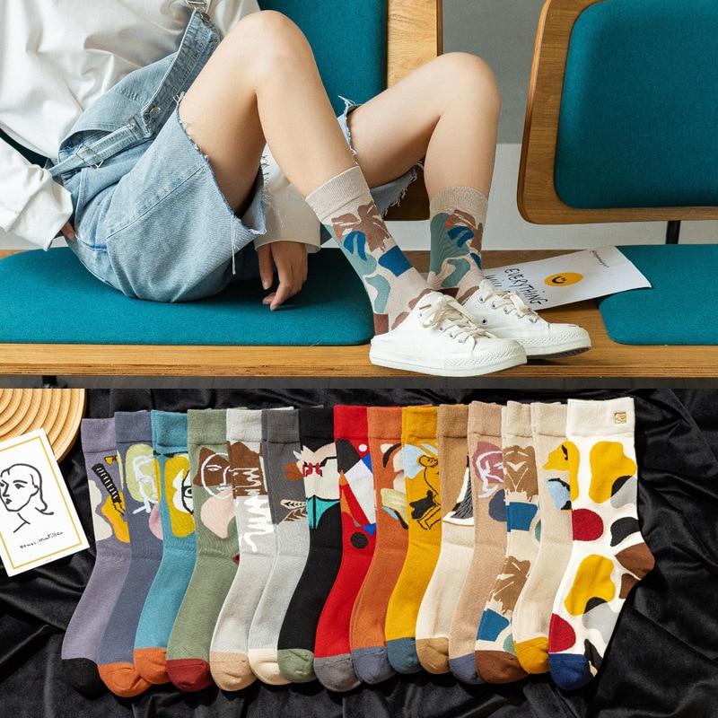 10 peças = 5 pares meias femininas ins moda meias rua 2020 japonês e coreano-estilo algodão arte criativa moda feminina meias
