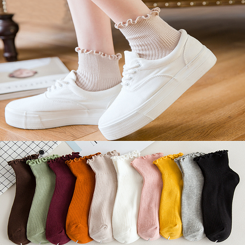 Frilly Edge Retro Solid Color Ankle Socks Women Best Cute Japanese Girls Socks Target 100 Cotton Casual Princess Student Socks