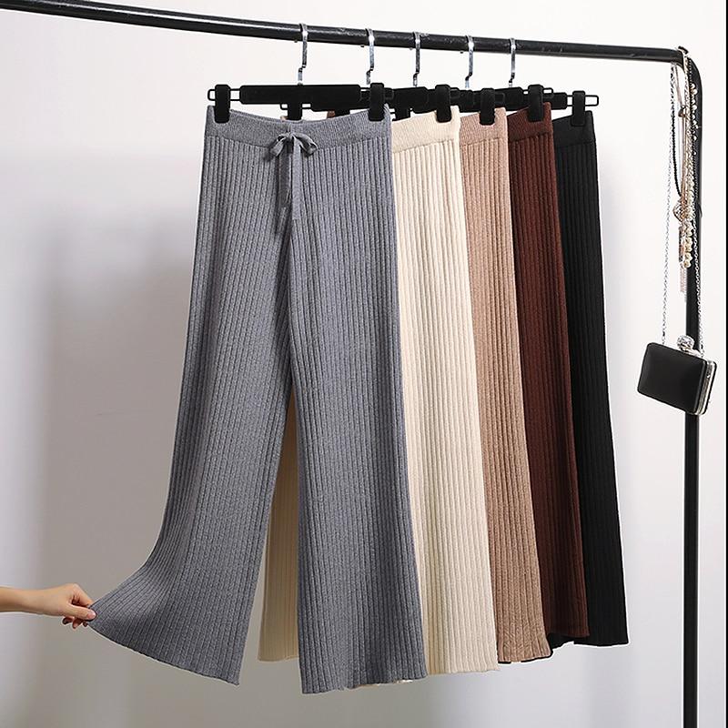 Fashion Knitted   Wide     Leg     Pants   Women Elastic High Waist Autumn Loose   Pants   Plus size korean trousers women pantalon femme
