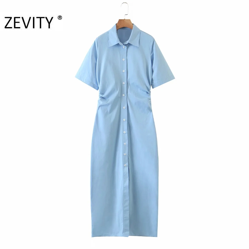 ZEVITY women fashion breasted blue color shirtdress office ladies short sleeve waist pleated vestidos chic party dresses DS4242