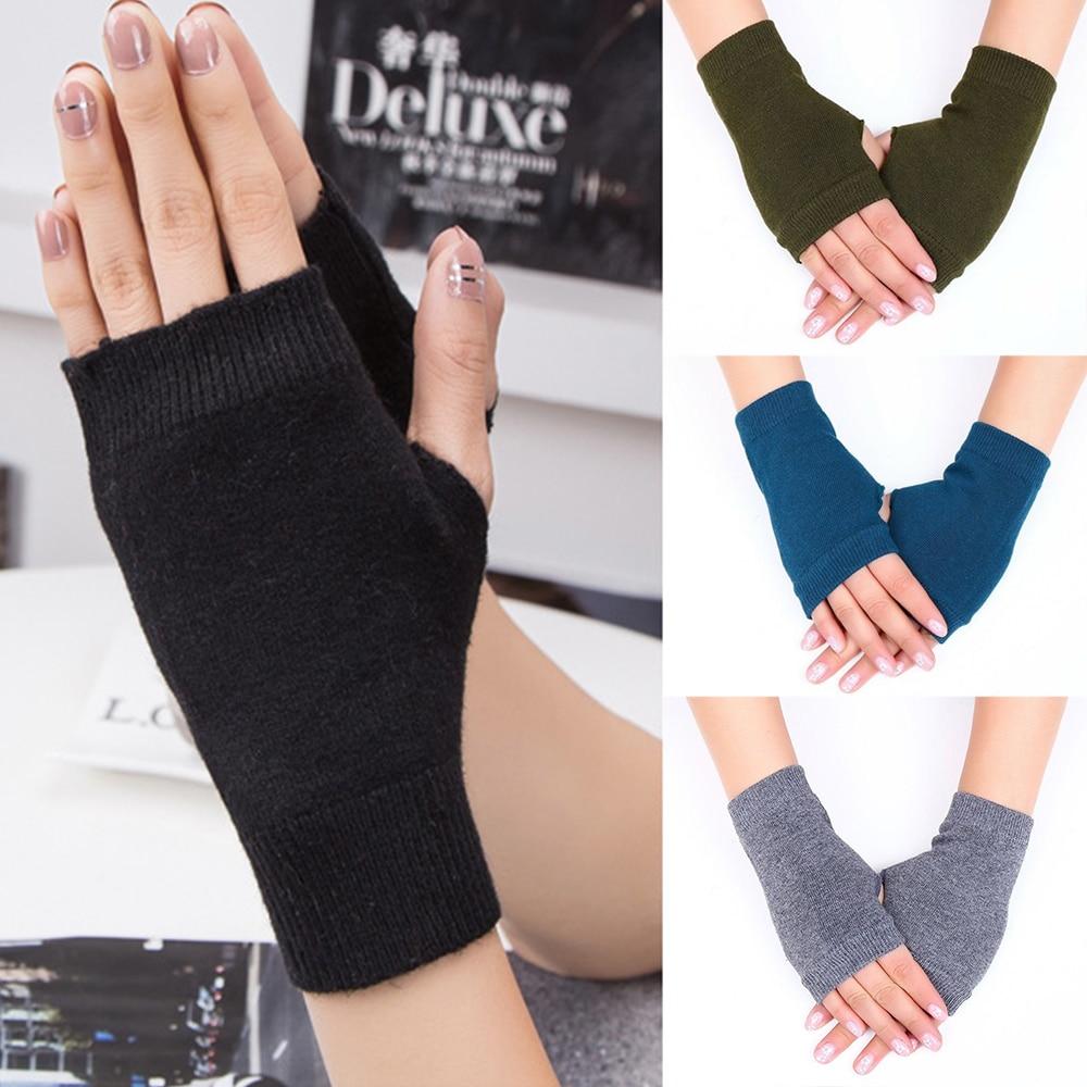 Fall Warm Knitted Mitten Women Winter Trendy Gloves Wrist Fingerless Hand Gloves