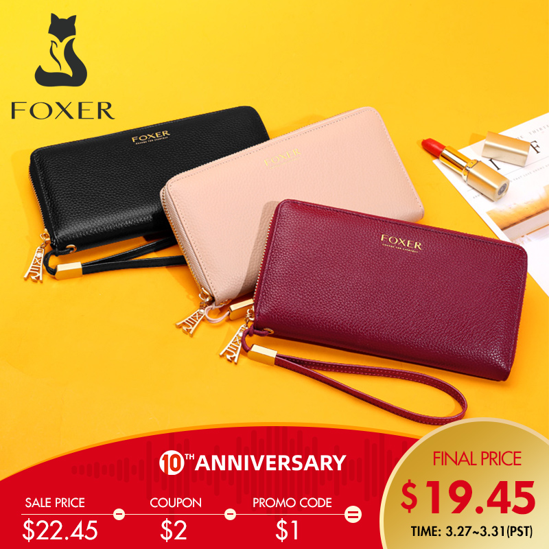 Foxer 100% Genuine Leather Wallet Lady Luxury Long Purse Card Slot Women Money Bag Cowhide Phone Bag Female Bank Holder ID Case
