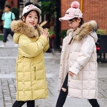 Fashion Winter Thicken Warm Wihte Duck Down Long Child Coat Children Outerwear Baby Girl Down Jackets Kids Outfits For 110-160cm все цены