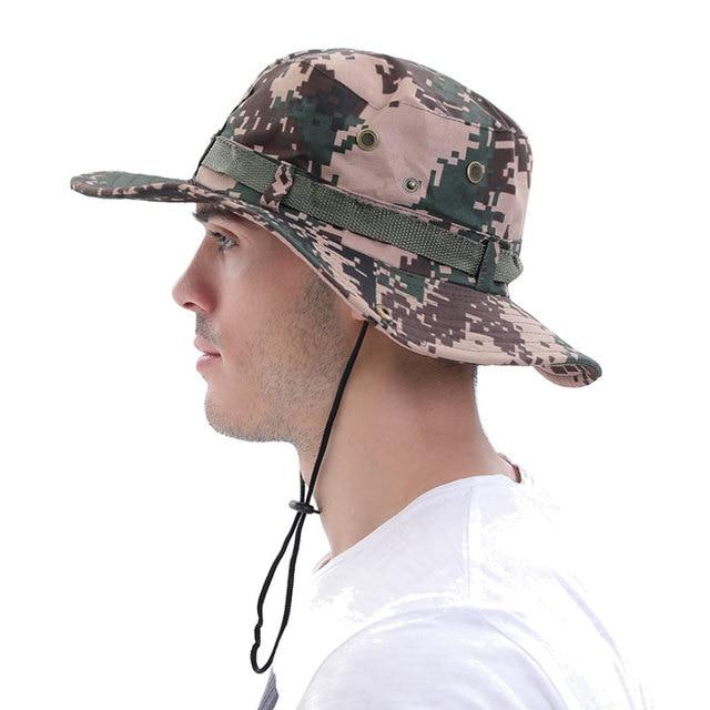 Fashion camouflage men's sun hats for men floppy straw summer hats women beach panama wide brim fishing airsoft sniper sun cap