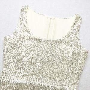 Image 5 - Vc 2020 모든 무료 배송 새로운 트렌디 스팽글 장식 섹시한 분할 민소매 연예인 파티 롱 드레스