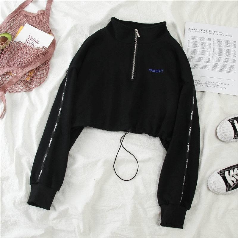 Women Zipper Autumn Black Solid Hoodies Cropped Streetwear Long Sleeve Sweatshirt Cool Loose Pullover High Street Hoodie Females