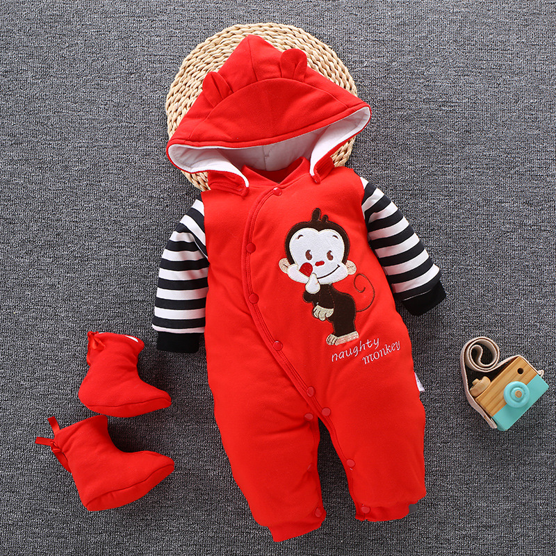 Image 2 - 2019 Baby Winter Romper For Newborn Girl Boy Clothes Toddler Baby Jumpsuit Overalls Thick Warm Baby Girl Rompers Infant Clothing-in Rompers from Mother & Kids