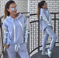 2019 Autumn Winter Women's Suit Tracksuit Long Sleeve Casual Patch Work Hooded Sweatshirt + Patchwork Long Pant 2 Piece Set