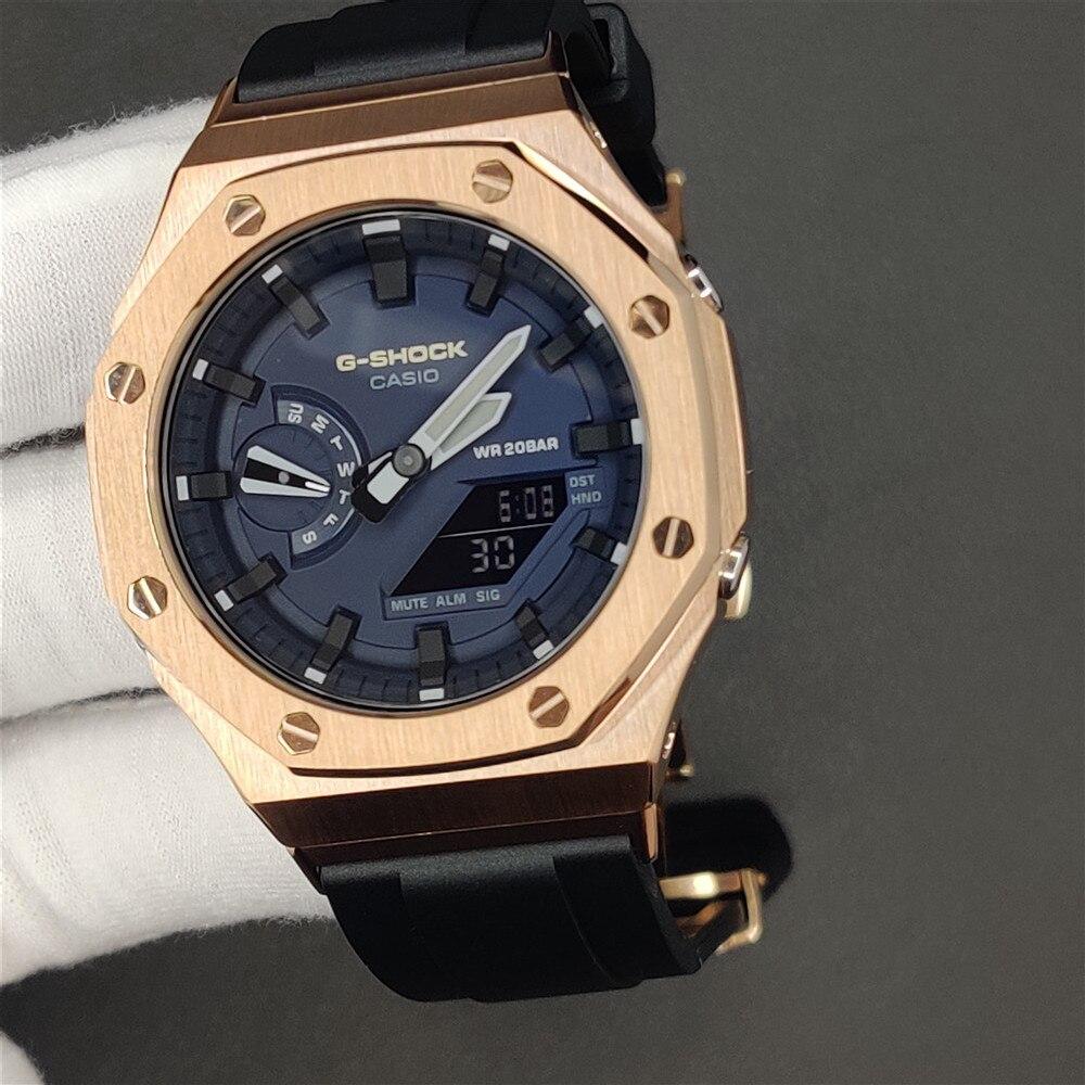 2rd bezel flúor borracha pulseira relógio para