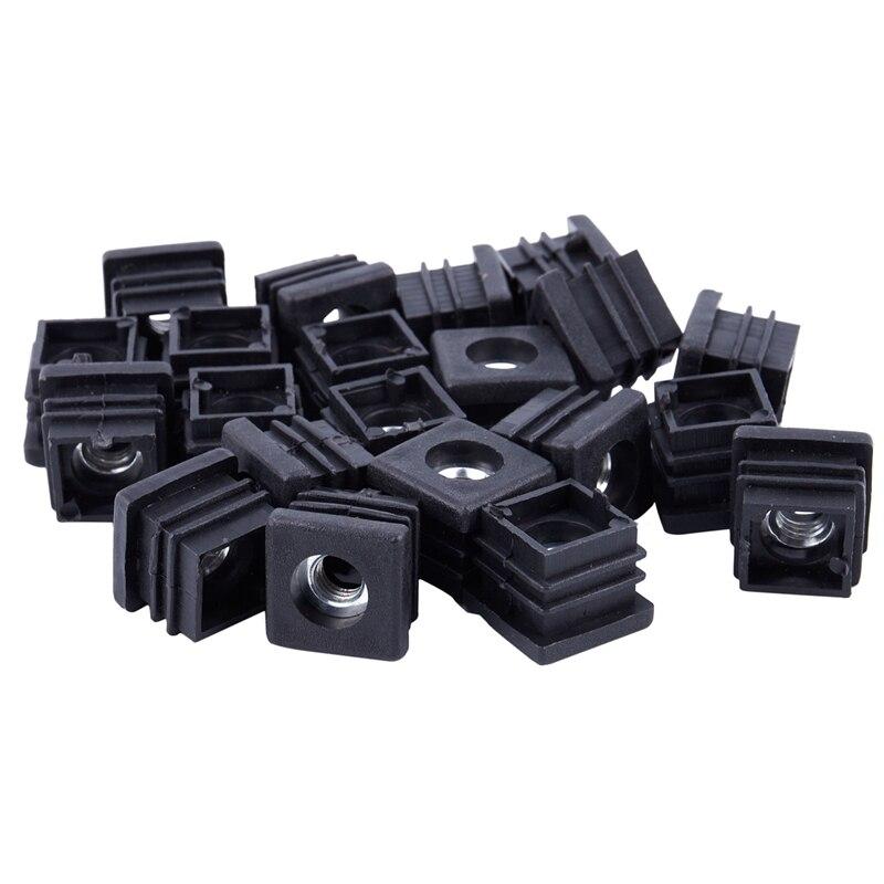 Square Tubing Pipe End Caps Insert Plugs M8 Thread 20x20mm 20Pcs Black