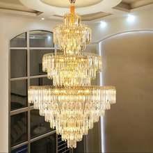Большие светодиодные люстры Роскошная золотая Современная хрустальная