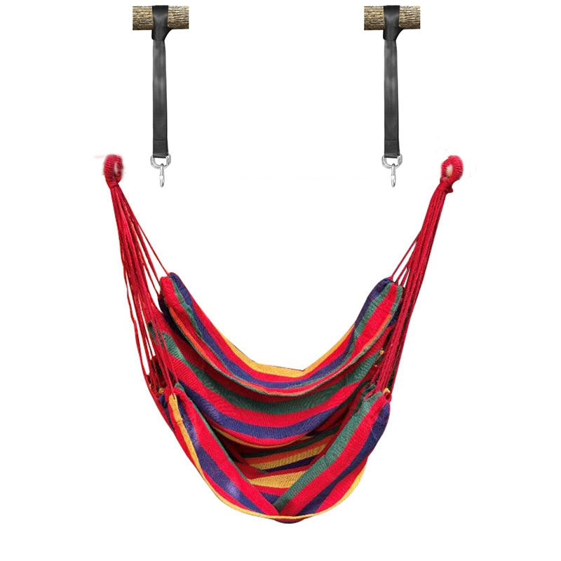 Portable Hammock Chair Hanging Rope Chair Swing Chair Seat With Wood Stick For Garden Indoor Outdoor Fashionable Hammock Swings