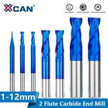 Cortador de trituração de xcan 2 flauta nano azul revestido moinho de extremidade plana 1-12mm carboneto de extremidade fresa cnc ferramenta de fresagem bit roteador