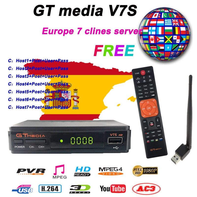 Populaire DVB-S2 Freesat V7 Full HD avec USB WIFI FTA Récepteur de TÉLÉVISION GTmedia v7s HD Support D'alimentation Europe 7 cline CCCAM Partage Réseau