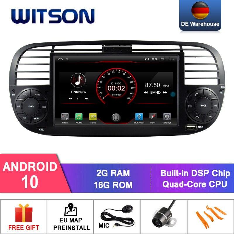 DE В наличии! Автомагнитола WITSON на Android 10 для FIAT 500, 2 Гб ОЗУ, 16 Гб флэш-памяти, GPS-навигация + DAB + OBD + TPMS + DVR опционально