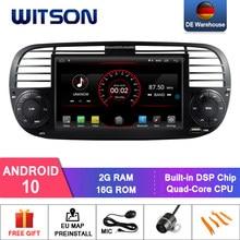 Witson android 10 rádio do carro para fiat 500 2gb ram 16gb flash gps auto navegação estéreo + dab obd tpms dvr wifi opcional