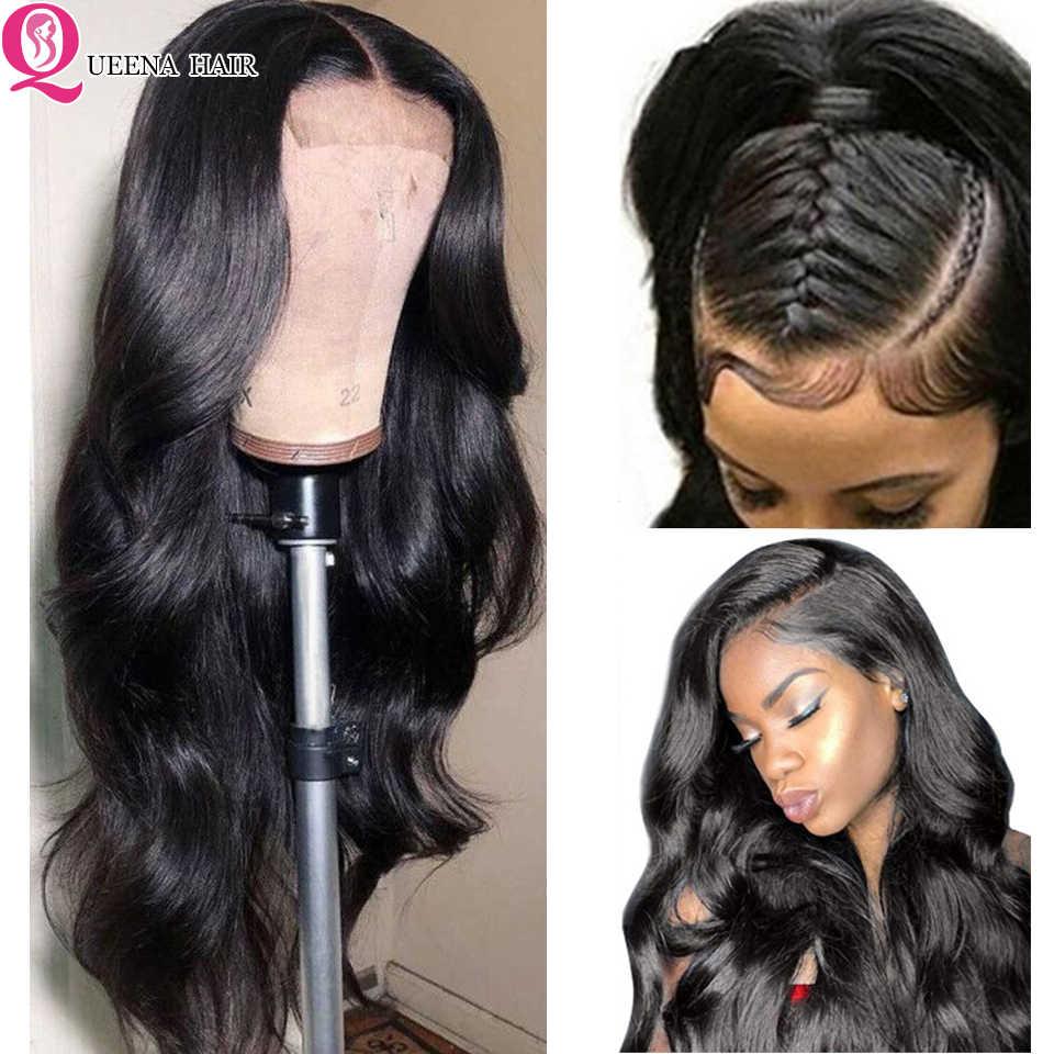 Queena brazylijski prosto peruka z dzieckiem włosy Remy ludzki włos koronki przodu peruki z ludzkich włosów Pre oskubane węzłów bielone część darmowe naturalne czarny