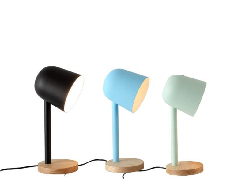 Mini simple iron wood table lamp eye protect desk lamp