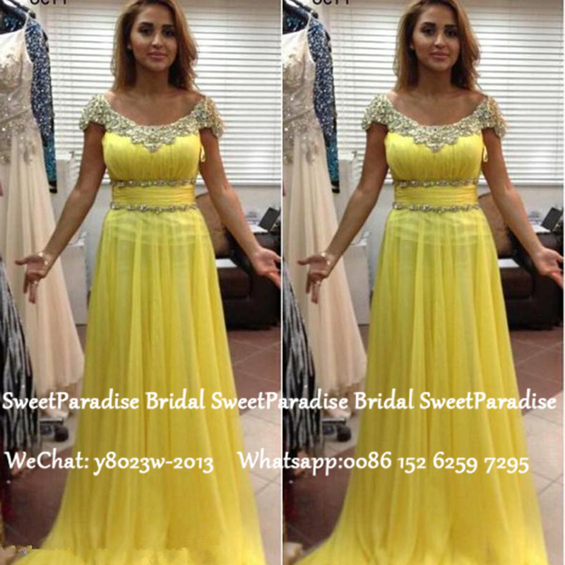 Chic Long Prom Dresses With Capped Sleeves 2020 Yellow Chiffon Appliques Women Formal Evening Dress Gown Vestido De Festa