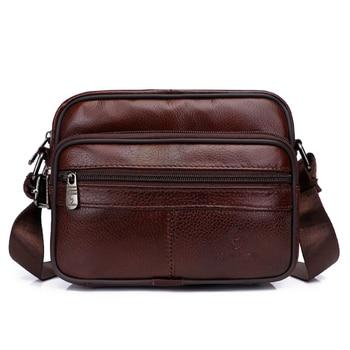 Genuine Leather Bag Male Messenger Bag Shoulder Bags For Men Fashion Flap Luxury Crossbody Leather Shoulder Bags KSK
