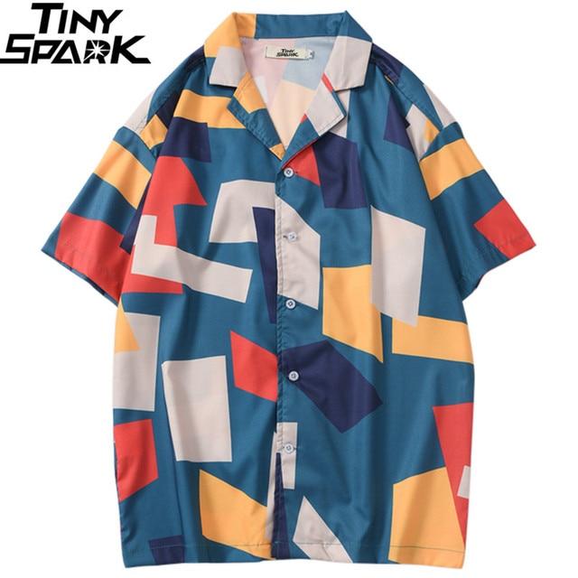2020 الهيب هوب قميص الشارع الشهير الرجال قميص هاواي صيفي اللون كتلة هندسية Harajuku الصيف شاطئ قميص هاواي رقيقة قصيرة الأكمام جديد