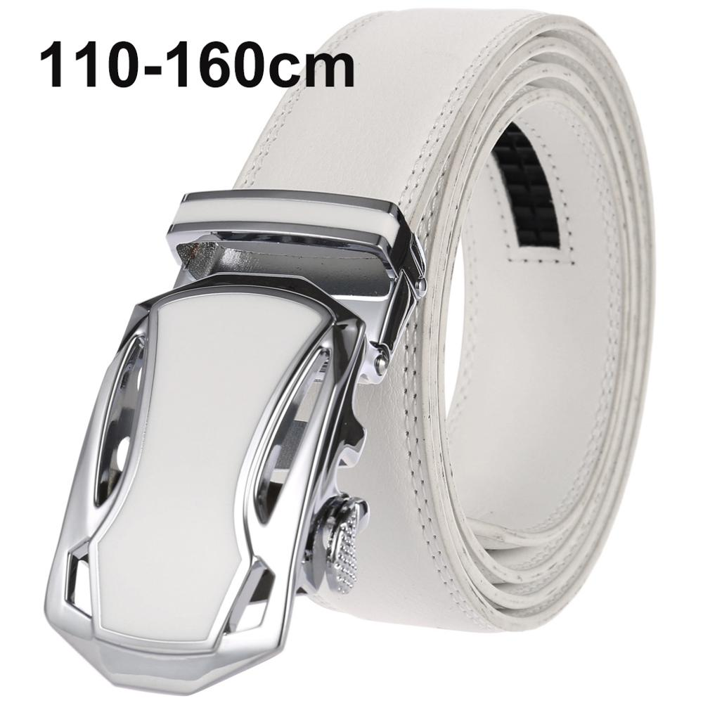 CETIRI 110cm - 160cm Plus Size White Belt Men Luxury Brand Designer High Quality Genuine Leather Strap Automatic Buckle Belt