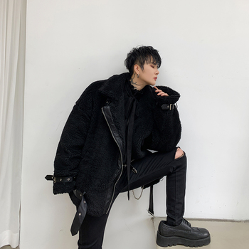 Male Streetwear Hip Hop Punk Gothic Coat Outerwear Men Winter Thick Fake Lamb Splice Leather Cotton Padded Motorcycle Jacket
