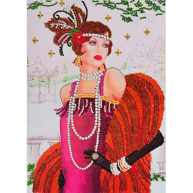 Special Shaped Diamond Painting Partial Drill Noble Lady DIY Mosaic Picture H1