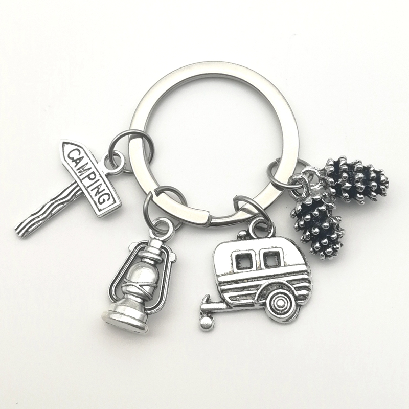 New Camping Keychain Trailer, RV Caravan Campground Key Chain, Nature Outdoors, Summer Vacation, Snowbirds Keyring Souvenir