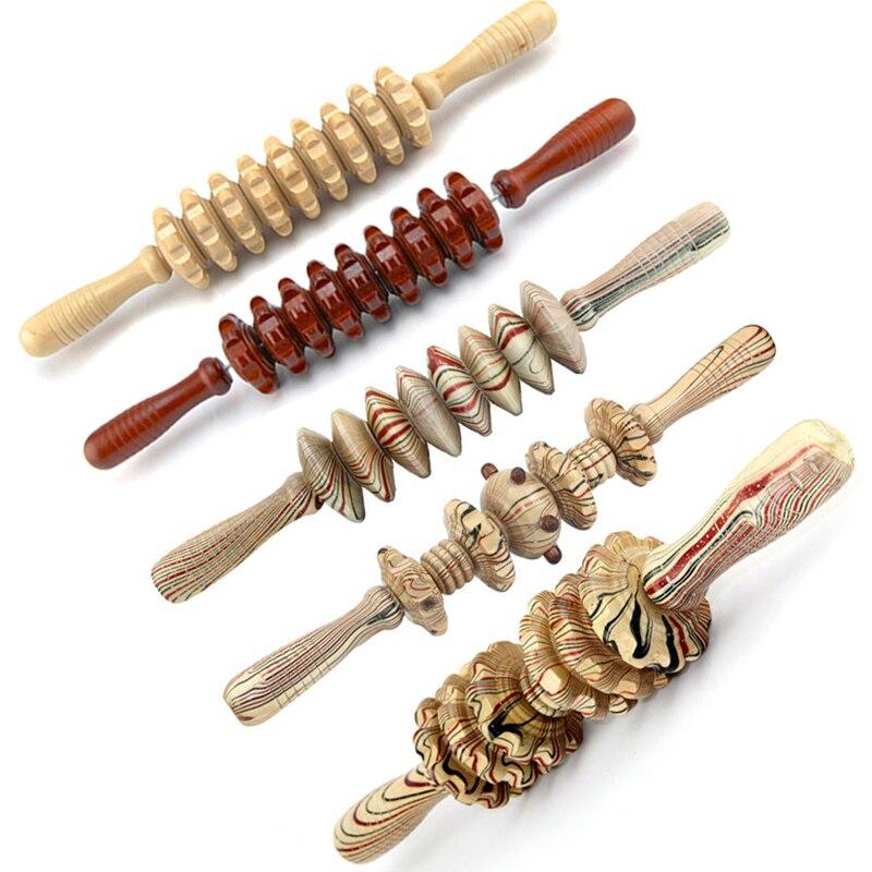 Деревянный Массажер для всего тела для спины, ног, шеи, живота, спортивный ролик для релаксации мышц, Массажная палочка, инструмент для восст...