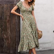 Fargeous yeşil çiçek emprime midi elbise kadın V boyun puf kollu yüksek bel elbise 2020 yaz moda Backless fırfır Vestidos