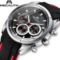 Мужские наручные часы MEGALITH  повседневные спортивные водонепроницаемые часы с хронографом в стиле милитари  2019
