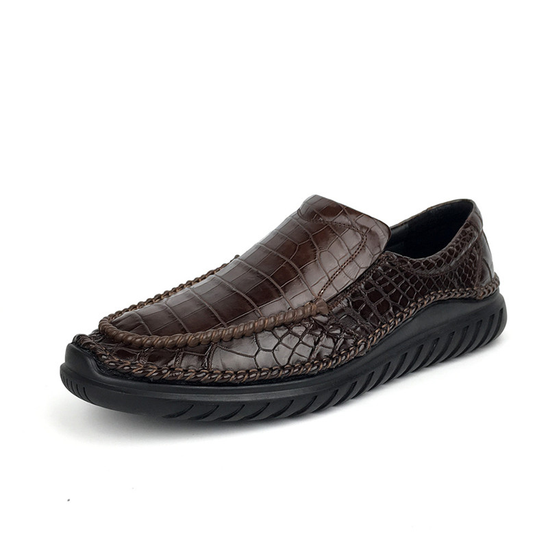 Authentic Crocodile Belly Skin Men's Driving Walking Footwear Shoes Genuine Alligator Leather Male Slip-on Breathable Loafers