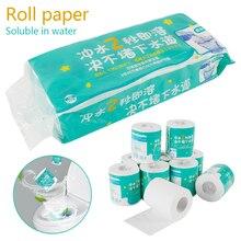 10 rollos/Paquete de papel higiénico soluble en agua, papel higiénico para el Hogar, baño, Rollo suave de papel higiénico, papel primario de pulpa de madera, papel higiénico
