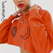 Cryptographic Fashion Women Sweatshirt Print Front Long Sleeve Cropped Hoodies Oversized Tops Autumn Streetwear K-pop