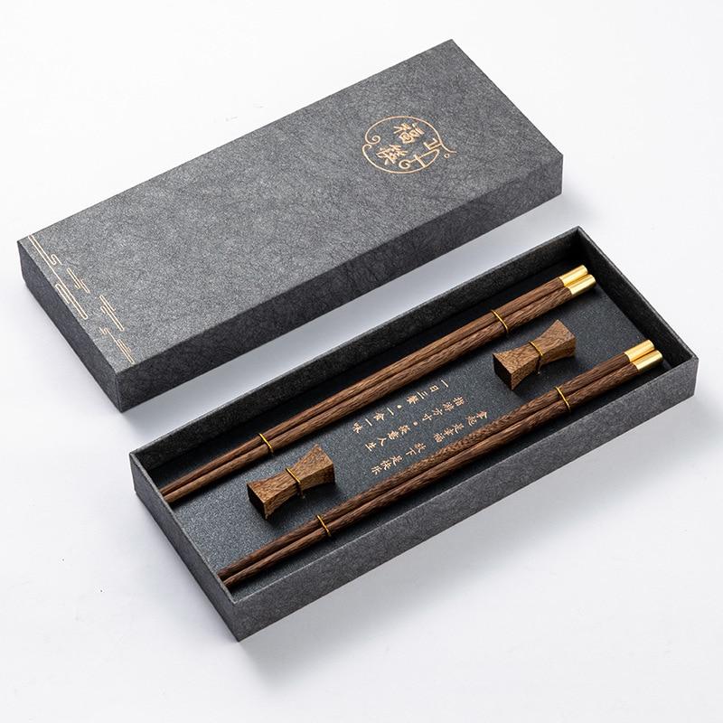 High Quality Premium Natural Red SandalWood Chopsticks Gift Box Packaging Household Cutlery Tableware Set Chinese Chopsticks
