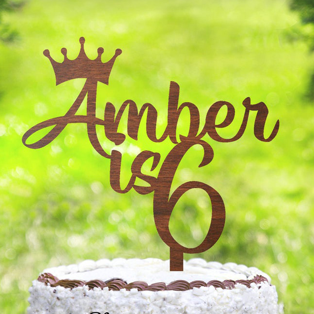 Personalised Birthday Cake Topper Name Age Crown Cake Topper Birthday Decoration Custom Name Age Cake Topper Cake Decorating Supplies Aliexpress