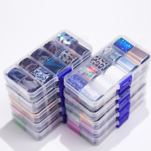 10 Design/set lamina per unghie adesivi per lamina per trasferimento di arte del chiodo carta scintillante AB colore Gel UV avvolge decalcomanie adesive per unghie