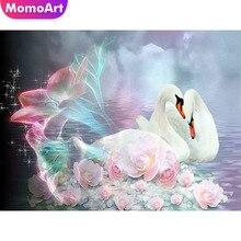 MomoArt Diamond Painting Swan Mosaic Animal Embroidery Full Drill Square Rhinestone Cross Stitch Love