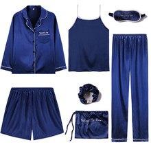Julysong s canção nova pijamas 7 peças conjunto de pijama feminino outono inverno sexy mancha falso pijamas de seda macio roupas de dormir
