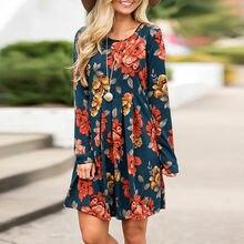 Женское платье с цветочным принтом длинным рукавом и круглым