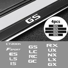 4 pçs de fibra carbono porta do carro peitoril capa protetor adesivo para lexus ct200h f esporte es ls é gc gx rx ux lx lc gc acessórios do carro
