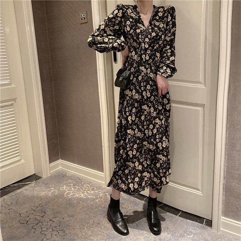 Autumn Spring Vintage Floral Chiffon Dress Boho Elegant Women Party Long Sleeve Dress Vestidos