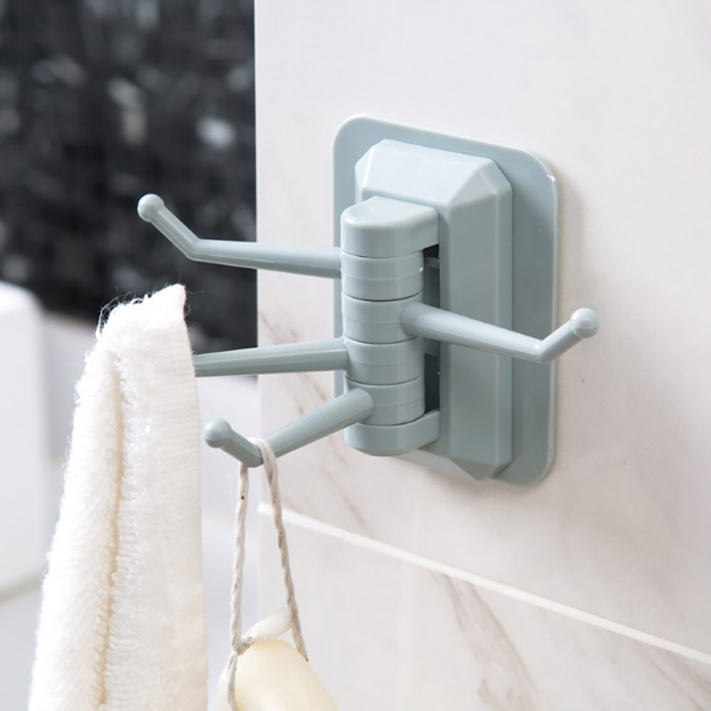 Strong Stick Adhesive Rotary Holder 4 In 1 Load Bearing 2KG Seamless Adhesive Hook Wall Hooks Hanger Bathroom Wall Towel Hook