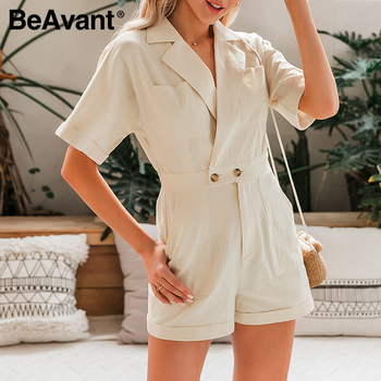 BeAvant Solid Beige Women Short jumpsuit romper High Waist Casual Playsuit Cotton Female Spring summer V Neck Sexy overalls 2020 5