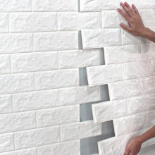 Paneles autoadhesivos decorativos para paredes, elaborados en espuma de polietilieno, con textura 3D de ladrillo y piedra, de 77*70cm